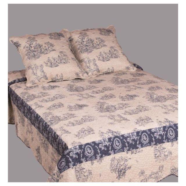 decor dautrefois couvre lit boutis 1 place toile de jouy bicolore bleu - Dessus De Lit 1 Personne