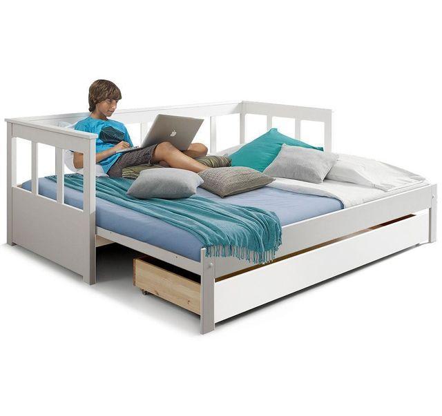 comforium lit banquette extensible 90x200 cm 180x200 cm avec tiroir lit en pin massif. Black Bedroom Furniture Sets. Home Design Ideas