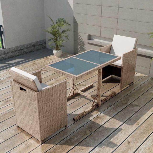 Vidaxl Salon de jardin encastrable 3 pcs avec coussins Rotin Beige