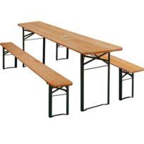 Aqua Occaz - Table Pliante + 2 bancs - En Pin et Épicéa - 170 cm