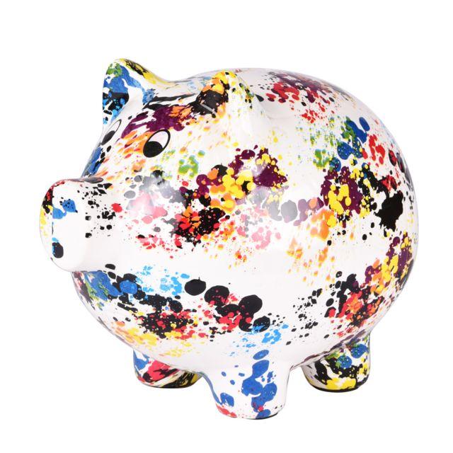 TABLE PASSION Tirelire cochon granito h22 cm
