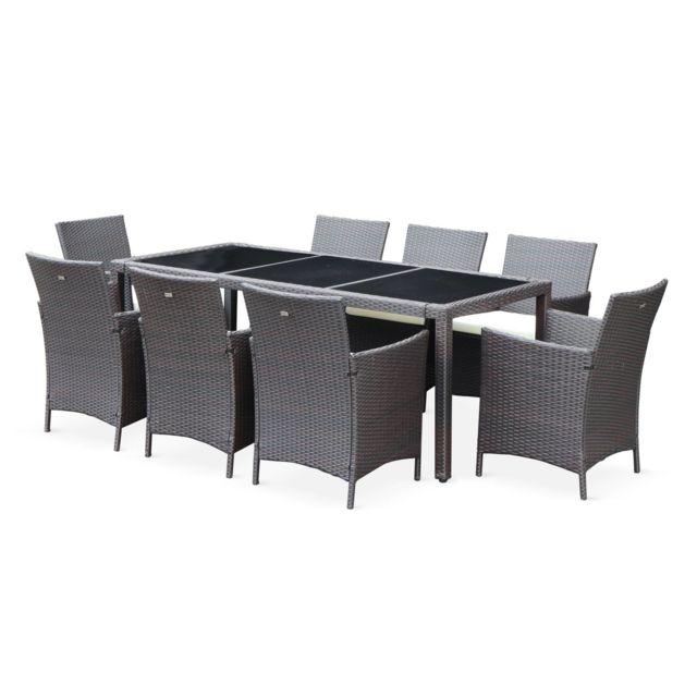 Salon de jardin 8 places - Tavola 8 Marron Chocolat - Résine tressée, table  195cm, coussins écru, 8 fauteuils