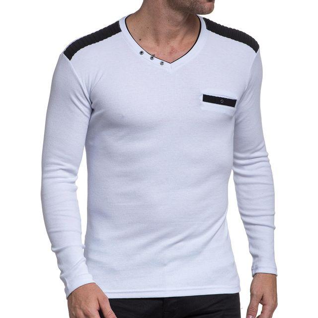 f3e13e8cc0b BLZ Jeans - Pull homme blanc côtelé col V - pas cher Achat   Vente ...
