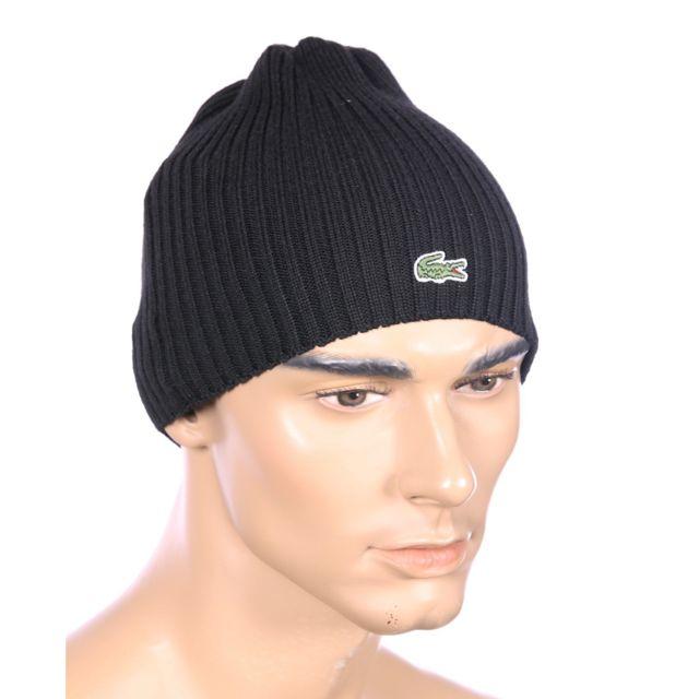 bb3c34924f Lacoste - Homme - Bonnet en laine noir Rb3504 - pas cher Achat ...