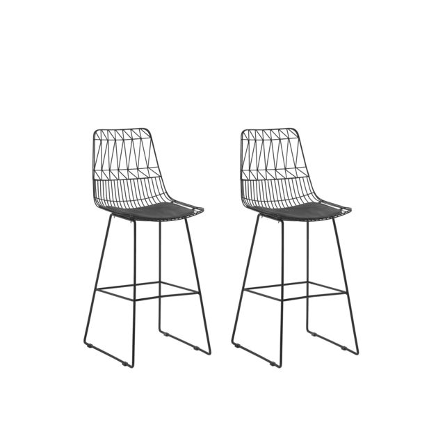 Lot de 2 chaises noires en acier PRESTON noir