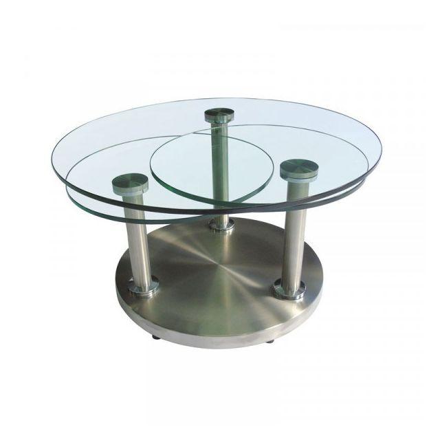 Dansmamaison Table basse articulée verre et métal - Gotry - L 85 x l 85 x H 42 cm