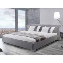 Beliani - Lit design en tissu - lit double 160x200 cm - gris - sommier inclus - Paris