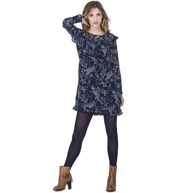 de072b6c1a4 Mado Et Les Autres - Robe fleuri esprit bohème 18HROB100 BL002 Femme  Automne Hiver 2018