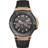 Guess - Montre Homme Noir Cuir Bracelet Acier Inoxydable Boitier Date Montre W0040G5