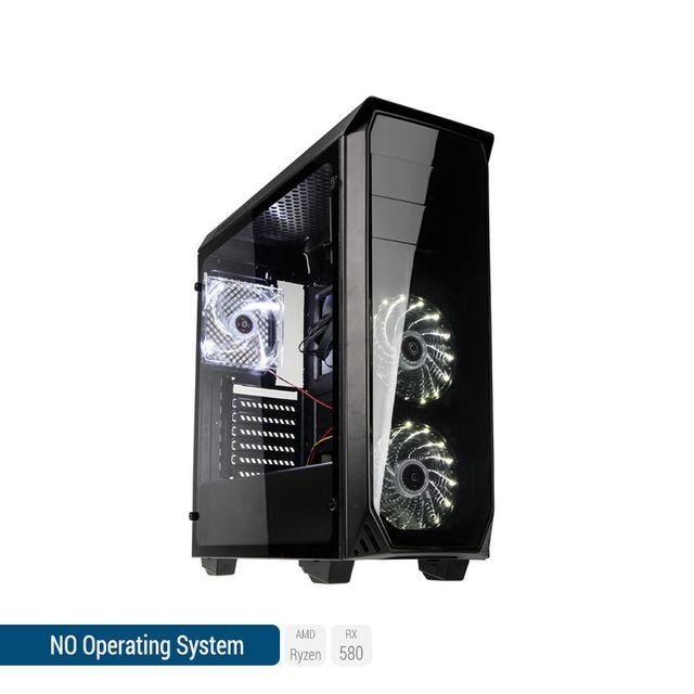 SEDATECH PC Gamer, AMD Ryzen 5, RX 580, 500 Go SSD, 2 To HDD, 16Go RAM, sans OS. Ref: UCM6112I4