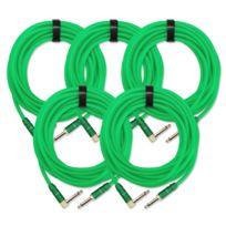 Pronomic - 5x Set Trendline Inst-6NG câble à instrument 6 m vert