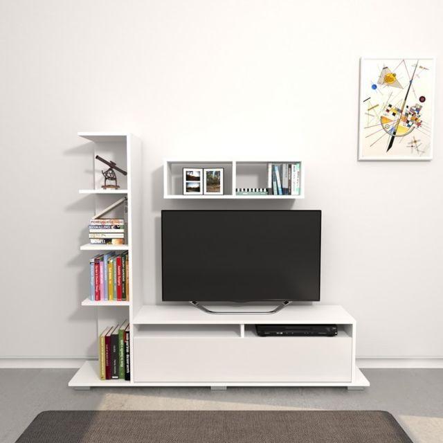 Homemania Meuble Tv Argo - avec Bibliothèque Intégrée, Étagère, Compartiments - pour Salon - Blanc en Bois, 150 x 28,5 x 125 cm