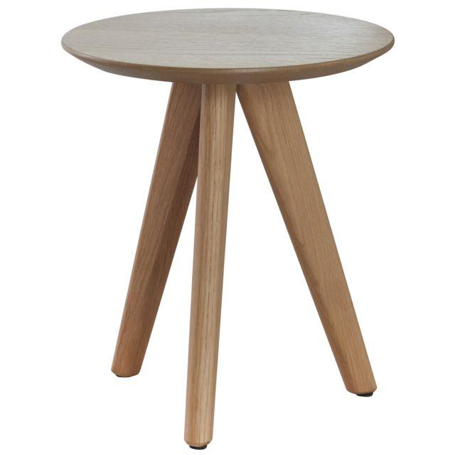 COMFORIUM Table d'appoint ronde design scandinave en bois massif chêne naturel Ø30cm