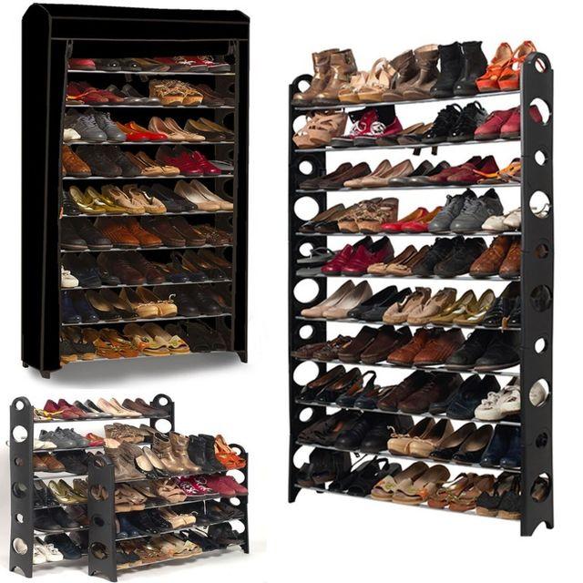 Idmarket etagère range <strong>chaussures</strong> 50 paires modulablehousse noire