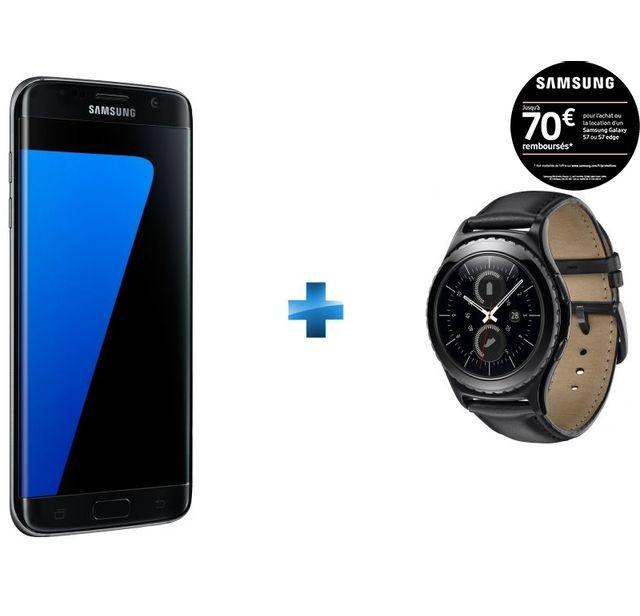 Samsung Galaxy S7 Edge Noir + Montre connectée pas cher