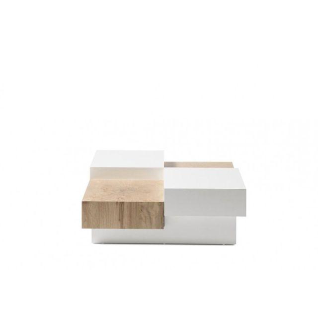 Inside 75 Table basse Pixbo laquée blanc mat et décor chêne 2 tiroirs