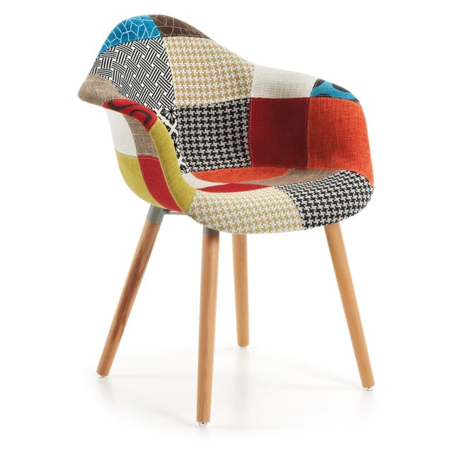 Kavehome Chaise Avec Accoudoirs Kevya Patchwork Natural - Fauteuil patchwork design