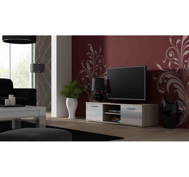 CHLOE DESIGN Meuble tv design SANO 140 CM - bois et blanc
