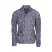 c766eb6e8f40 Pepe Jeans - Gilet zippé col châle Holborn à grosses mailles bleu marine  chiné
