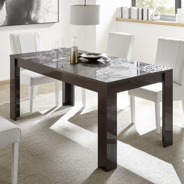Kasalinea Table avec rallonge 180 cm gris laqué design Nerina 2