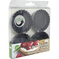 """Ard'time - Lot de 4 mini moules a tartes forme ronde - Diametre 10cm """"Mes tartes gourmandes"""" - Fonds amovible - Boite Pvc"""