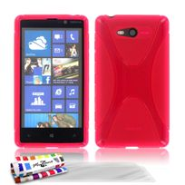 "Muzzano - Coque Souple Ultra-Slim ""Le X"" Premium Rose pour Nokia Lumia 820 + 3 Films de protection ?cran"