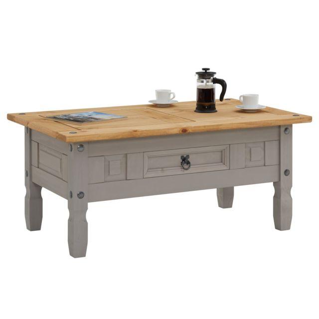 IDIMEX Table basse RAMON table d'appoint rectangulaire en pin massif gris et brun avec 1 tiroir, meuble de salon style mexicain