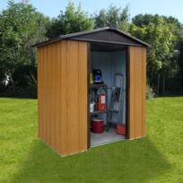 Autre - Abri de jardin métal 2,77 m² - aspect bois et marron