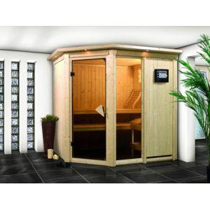 karibu sauna traditionnel fiona 1 avec couronne 68 mm 210 x 165 x 202 cm pas cher achat. Black Bedroom Furniture Sets. Home Design Ideas