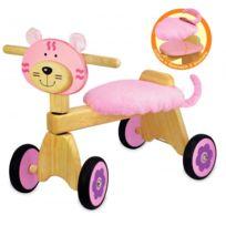 I M Toy - Porteur Vélo 4 roues Chaton rose en bois