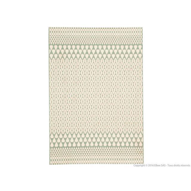 Urban Living - Tapis 100% polyropylène effet tissé plat motif scandinave Ebba - Vert amande - 60x110cm