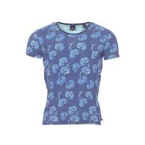 Scotch And Soda - Tee-shirt col rond Scotch & Soda en coton stretch bleu à motifs géométriques et à motifs feuilles