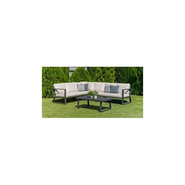 Hevea Ensemble Salon Sofa De Jardin Bolon 28 en Aluminium Anthracite Coussins couleur Mariland Gris Clair Hev31865