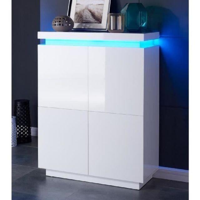 BUFFET - BAHUT - ENFILADE FLASH Buffet haut avec LED contemporain blanc laqué brillant - L 96 cm