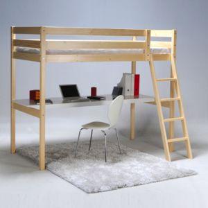 no name lit mezzanine 90x190cm bureau sommier en bois colorado 90cm x 190cm pas cher. Black Bedroom Furniture Sets. Home Design Ideas