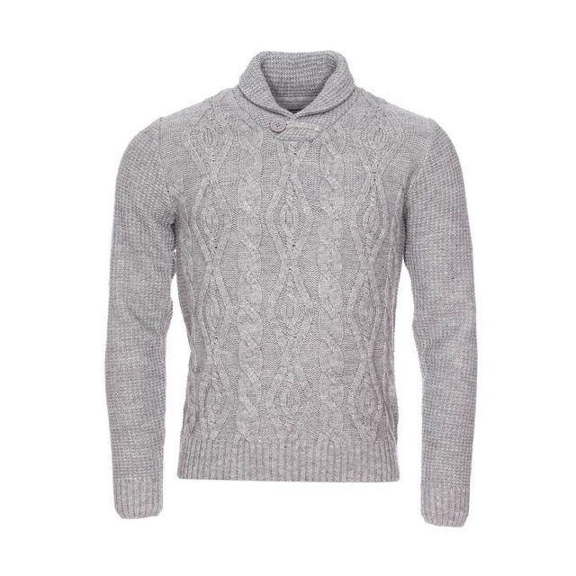 b04de66a9c3d Fresh Brand - Pull col châle The en laine mélangée gris chiné - pas cher  Achat   Vente Pull homme - RueDuCommerce