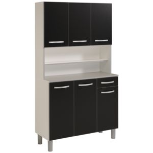 last meubles buffet cuisine poppy noir 42cm x 184cm x. Black Bedroom Furniture Sets. Home Design Ideas