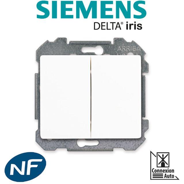 Siemens - Double Poussoir Blanc Delta Iris