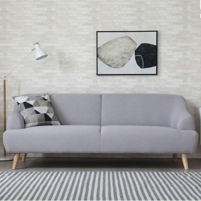 2a1a6bf250ee0 CONCEPT USINE - Klein gris clair : canapé scandinave 3 places gris clair