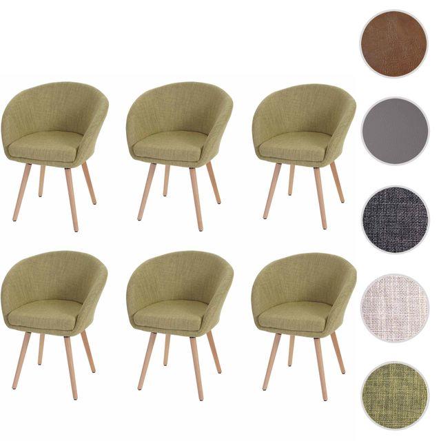 Mendler 6x chaise de salle à manger Malmö T633, fauteuil, design rétro des années 50 ~ tissu, vert clair