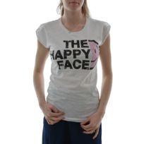 Happiness - Tee shirt the happy face blanc