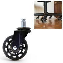 2,5 pouces Pu noir roue transparente adapté pour chaise de bureau 11x22mm vis muette universelle
