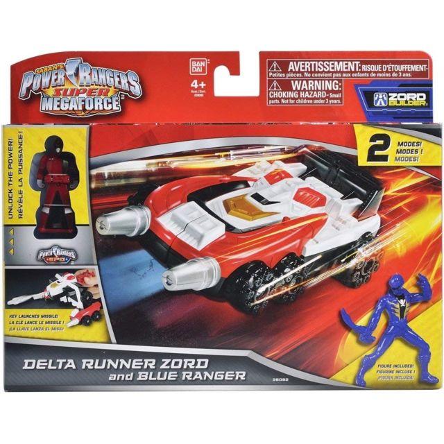 Power Rangers Coffret Power Ranger Bleu + Delta Runner Zord - Robot Tranformable - Vehicule - Voiture