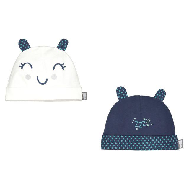 Petit Beguin - Lot de 2 bonnets bébé garçon Pyjama Party - Taille - 1/3 mois Multicolore