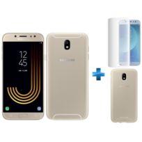 Samsung - Galaxy J7 2017 - Or + Coque de protection souple pour Galaxy J7 2017 Or + Verre trempe Galaxy J7 2017 Transparent