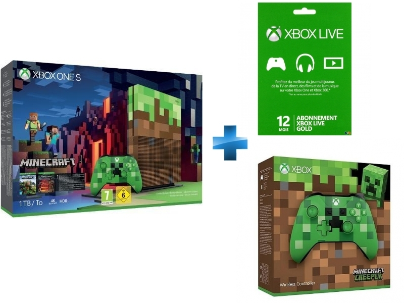 Pack Xbox One S 1To Minecraft Edition Limitée + XONE CARTE LIVE 12 MOIS GOLD + Manette Xbox Edition Minecraft Creeper