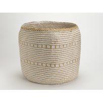 Amadeus - Panier tressé en fibre végétale et papier motif ethnique D.40cm Sahara