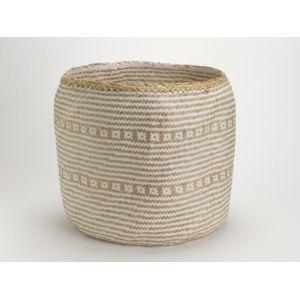 Amadeus - Panier tressé en fibre végétale et papier motif ethnique D.40cm Sahara - Blanc