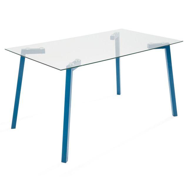 Somobilia Table salle à manger en verre avec pieds en métal bleu Tribor