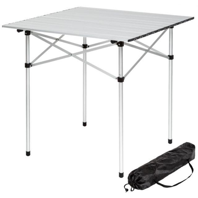 Autre Table de camping jardin pique-nique aluminium pliante 70x70 cm 2008033